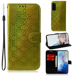 Laser Circle Shining Leather Wallet Phone Case for Samsung Galaxy S20 / S11e - Golden