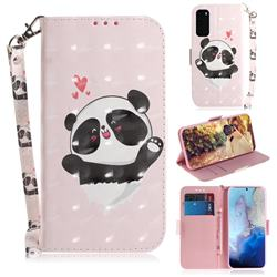 Heart Cat 3D Painted Leather Wallet Phone Case for Samsung Galaxy S20 / S11e