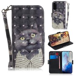 Cat Embrace 3D Painted Leather Wallet Phone Case for Samsung Galaxy S20 / S11e