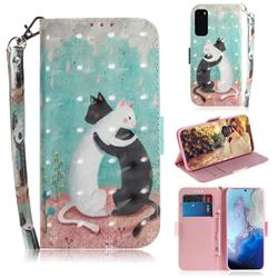 Black and White Cat 3D Painted Leather Wallet Phone Case for Samsung Galaxy S20 / S11e