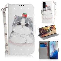Cute Tomato Cat 3D Painted Leather Wallet Phone Case for Samsung Galaxy S20 / S11e