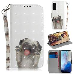 Pug Dog 3D Painted Leather Wallet Phone Case for Samsung Galaxy S20 / S11e