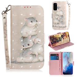 Three Squirrels 3D Painted Leather Wallet Phone Case for Samsung Galaxy S20 / S11e