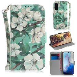 Watercolor Flower 3D Painted Leather Wallet Phone Case for Samsung Galaxy S20 / S11e