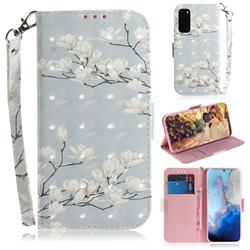 Magnolia Flower 3D Painted Leather Wallet Phone Case for Samsung Galaxy S20 / S11e