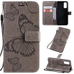 Embossing 3D Butterfly Leather Wallet Case for Samsung Galaxy S20 / S11e - Gray