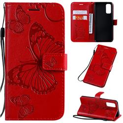 Embossing 3D Butterfly Leather Wallet Case for Samsung Galaxy S20 / S11e - Red
