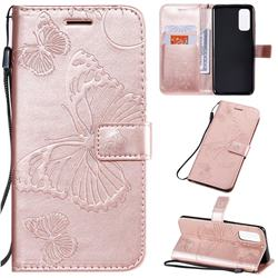 Embossing 3D Butterfly Leather Wallet Case for Samsung Galaxy S20 / S11e - Rose Gold
