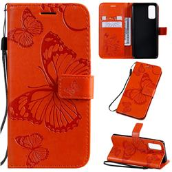 Embossing 3D Butterfly Leather Wallet Case for Samsung Galaxy S20 / S11e - Orange