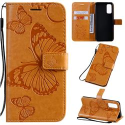 Embossing 3D Butterfly Leather Wallet Case for Samsung Galaxy S20 / S11e - Yellow