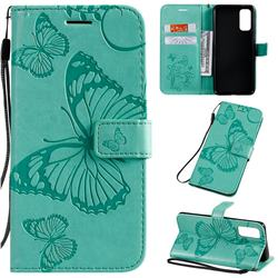 Embossing 3D Butterfly Leather Wallet Case for Samsung Galaxy S20 / S11e - Green