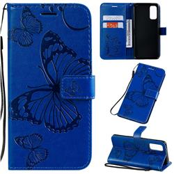 Embossing 3D Butterfly Leather Wallet Case for Samsung Galaxy S20 / S11e - Blue