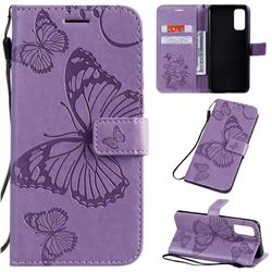 Embossing 3D Butterfly Leather Wallet Case for Samsung Galaxy S20 / S11e - Purple