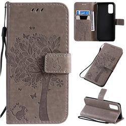 Embossing Butterfly Tree Leather Wallet Case for Samsung Galaxy S20 / S11e - Grey