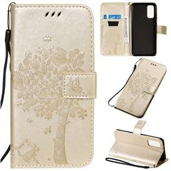 Embossing Butterfly Tree Leather Wallet Case for Samsung Galaxy S20 / S11e - Champagne