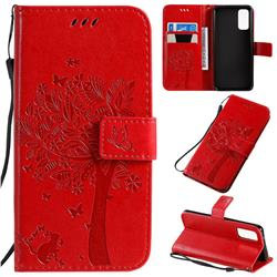 Embossing Butterfly Tree Leather Wallet Case for Samsung Galaxy S20 / S11e - Red