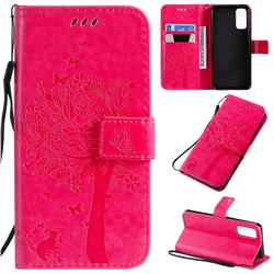 Embossing Butterfly Tree Leather Wallet Case for Samsung Galaxy S20 / S11e - Rose