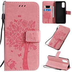 Embossing Butterfly Tree Leather Wallet Case for Samsung Galaxy S20 / S11e - Pink