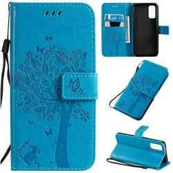 Embossing Butterfly Tree Leather Wallet Case for Samsung Galaxy S20 / S11e - Blue