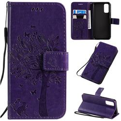 Embossing Butterfly Tree Leather Wallet Case for Samsung Galaxy S20 / S11e - Purple