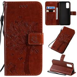 Embossing Butterfly Tree Leather Wallet Case for Samsung Galaxy S20 / S11e - Coffee