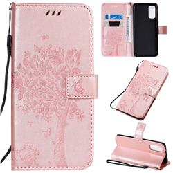 Embossing Butterfly Tree Leather Wallet Case for Samsung Galaxy S20 / S11e - Rose Pink