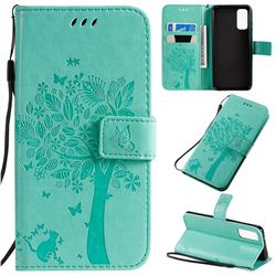 Embossing Butterfly Tree Leather Wallet Case for Samsung Galaxy S20 / S11e - Cyan