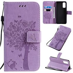 Embossing Butterfly Tree Leather Wallet Case for Samsung Galaxy S20 / S11e - Violet
