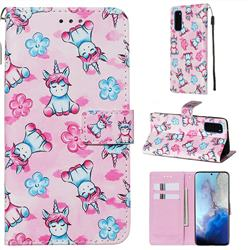 Unicorn and Flowers Matte Leather Wallet Phone Case for Samsung Galaxy S20 / S11e