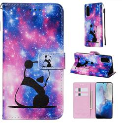 Panda Baby Matte Leather Wallet Phone Case for Samsung Galaxy S20 / S11e