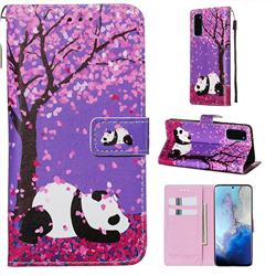 Cherry Blossom Panda Matte Leather Wallet Phone Case for Samsung Galaxy S20 / S11e