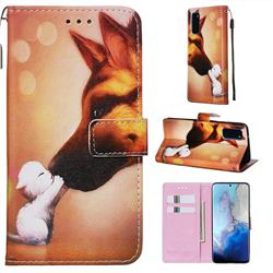 Hound Kiss Matte Leather Wallet Phone Case for Samsung Galaxy S20 / S11e