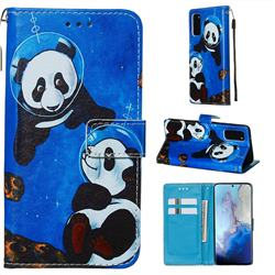 Undersea Panda Matte Leather Wallet Phone Case for Samsung Galaxy S20 / S11e