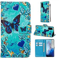 Love Butterfly Matte Leather Wallet Phone Case for Samsung Galaxy S20 / S11e