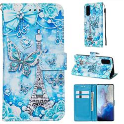Tower Butterfly Matte Leather Wallet Phone Case for Samsung Galaxy S20 / S11e