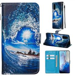 Waves and Sun Matte Leather Wallet Phone Case for Samsung Galaxy S20 / S11e