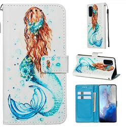 Mermaid Matte Leather Wallet Phone Case for Samsung Galaxy S20 / S11e