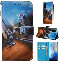 Mirror Cat Matte Leather Wallet Phone Case for Samsung Galaxy S20 / S11e