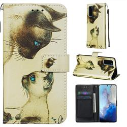 Cat Confrontation Matte Leather Wallet Phone Case for Samsung Galaxy S20 / S11e