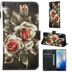Black Rose Matte Leather Wallet Phone Case for Samsung Galaxy S20 / S11e
