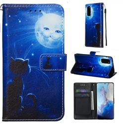Cat and Moon Matte Leather Wallet Phone Case for Samsung Galaxy S20 / S11e