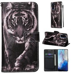Black and White Tiger Matte Leather Wallet Phone Case for Samsung Galaxy S20 / S11e