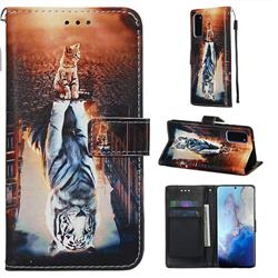 Cat and Tiger Matte Leather Wallet Phone Case for Samsung Galaxy S20 / S11e