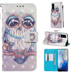 Sweet Gray Owl 3D Painted Leather Wallet Case for Samsung Galaxy S20 / S11e