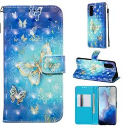 Gold Butterfly 3D Painted Leather Wallet Case for Samsung Galaxy S20 / S11e