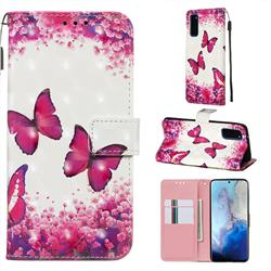 Rose Butterfly 3D Painted Leather Wallet Case for Samsung Galaxy S20 / S11e