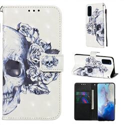 Skull Flower 3D Painted Leather Wallet Case for Samsung Galaxy S20 / S11e