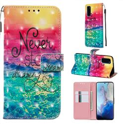 Colorful Dream Catcher 3D Painted Leather Wallet Case for Samsung Galaxy S20 / S11e
