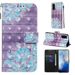 Blue Flower 3D Painted Leather Wallet Case for Samsung Galaxy S20 / S11e