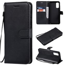 Retro Greek Classic Smooth PU Leather Wallet Phone Case for Samsung Galaxy S20 / S11e - Black